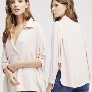 Free People Oversized Collared Front Wrap Top Sz S